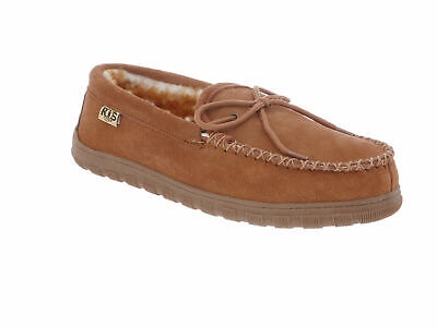RJ Fuzzies Men's WW Moccasin - Size 8 WW Men's Slipper - Chestnut **NEW**