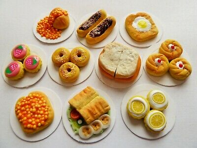 Dolls House Miniature Food 1:12 10 X Sweet N Savoury Food Plates Combined P+P