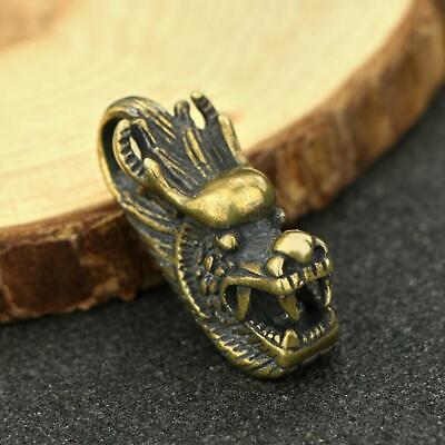 Chinese Brass Dragon Head Pendant Small Statue Old China Zodiac Pocket Gift Toys
