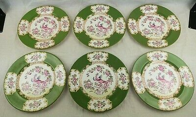 "MINTON - Green - Cockatrice 4863 - Bone China Plates x 6 - Diameter 10.5"" - VGC"