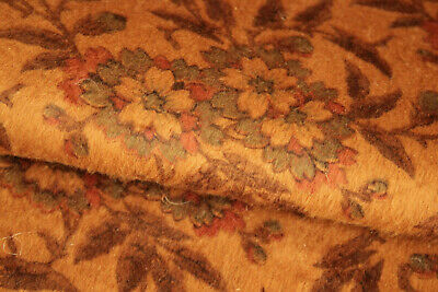 Plush Curtain Antique English Floral Patterned Brown Ground 1860 Rare Velvety