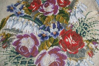 Antique Victorian beaded Berlin woolwork embroidery, embroidered roses beadwork