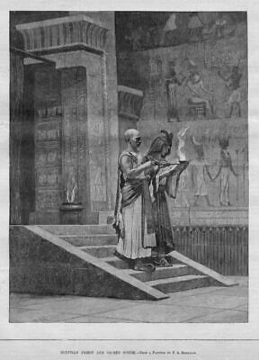 Egyptian Priest And Sacred Scribe 1881 History Antique Engraving Religion