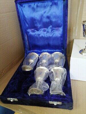 Vintage 6 X Small Silver Plated Goblets