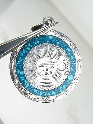 Vintage Sterling Silver Turquoise Chip Mexico Ladies Pendant 5.4g