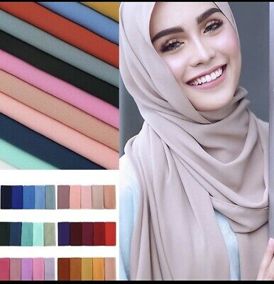 Hijab print plain head scarf maxi chiffon jersey crimp cotton viscose PLJK14