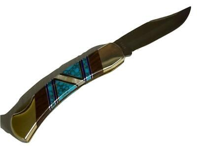 Doris Yazzie Custom Turquoise Jet MOP Rosewood Inlaid Knife Signed Schrade LB7B