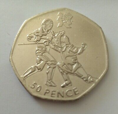 50p OLYMPIC coin 2011. FENCING Very Collectable, VGC Lovely coin. Lower Price