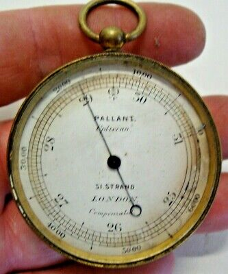 Antique brass cased pocket barometer by PALANT OPTICIAN 51 STRAND LONDON