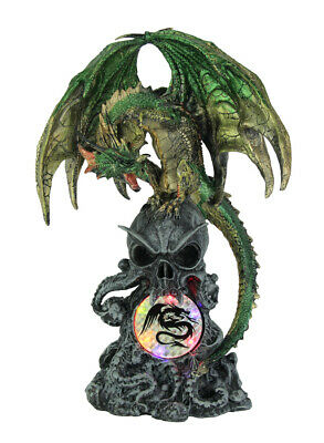 Scratch & Dent Green Dragon Perched On Skull Statue Multicolored LED Lights