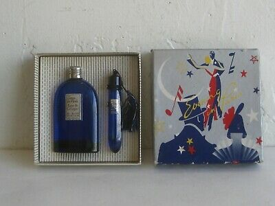 Vtg EVENING IN PARIS BOURJOIS GLASS BOTTLE PERFUME EAU DE COLOGNE SET w/BOX 5%