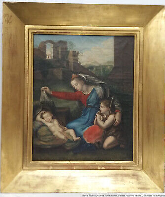 Antique Italian Old Master Subject After Raphael Madonna Child St John Painting