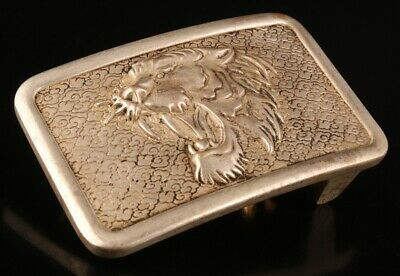 Chinese Tibetan Silver Hand-Carved Tiger Statue Belt Buckle Auspicious Gift