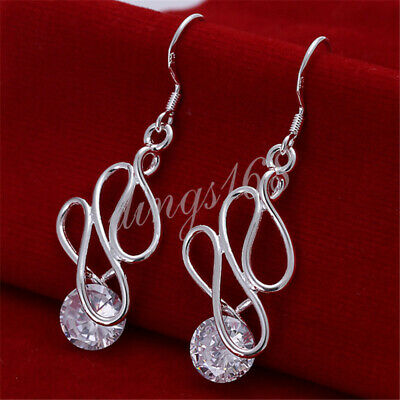 Classic Crystal Solid 925 Sterling Silver Curved 66mm Long Dangle Earrings H366