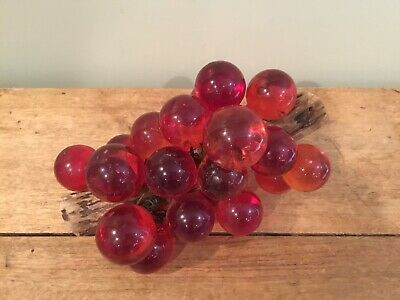 Vintage Lucite Acrylic Red Grape Cluster On Wood Mid Century Retro Table Decor