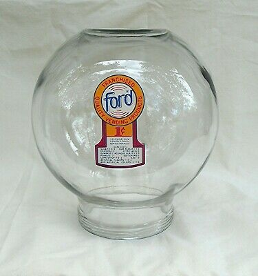 Original Ford Gumball  Vending Machine glass globe with 1 cent decal