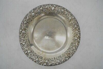 Vintage Sterling Silver .925 Plate w/Floral Repousse 435g Tableware