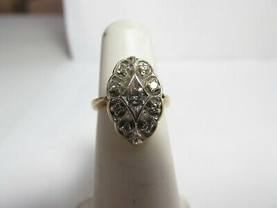 VINTAGE 1930s 14K SOLID WHITE GOLD RING WITH 9 ROUND NATURAL DIAMONDS SIZE 3