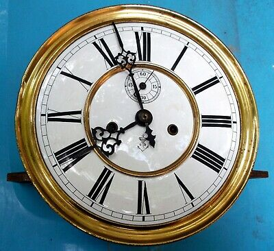 "Gustav Becker Freiburg 7.25"" Porcelain Face Weight Driven Clock Movement Parts"