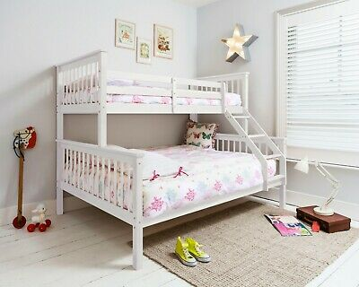 Triple Sleeper Bed, Bunk Bed, Double Bed in White Euro Kids