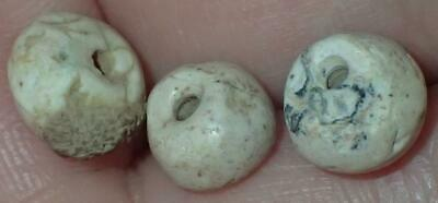 3 Ancient Roman etched Carnelian & Agate Beads, 1800+ Years Old, 8-10mm,#S1404