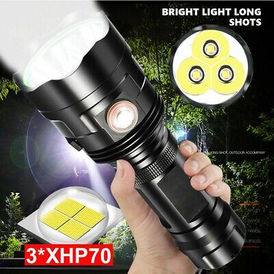 LED Flashlight Torch 3*XHP70 Torch USB Rechargeable Waterproof Lamp Ultra Bright