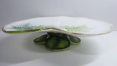 Antique George Jones Majolica Pottery Embossed Water Lily Fern Comport Plate