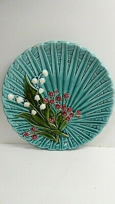 Antique German Majolica Pottery Plate Painted Lily Of The Valley Marie Louise