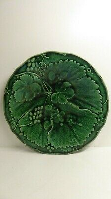 Antique Majolica Pottery Green Embossed Leaf Plate