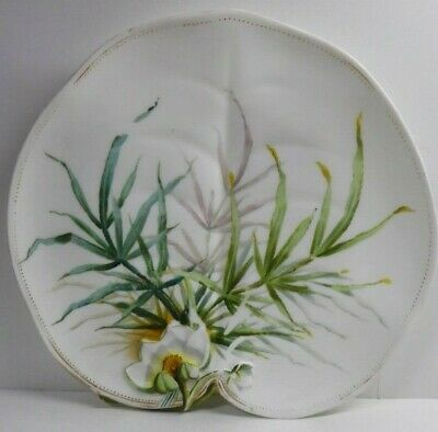 Antique George Jones Majolica Pottery Embossed Hand Paint Water Lily Fern Plate