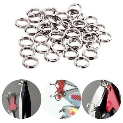 100//200pcs Solid Stainless Steel Snap Split Ring Fishing Lure Tackle Connector