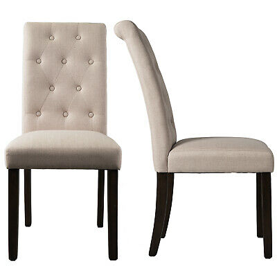 Dining Gray Chair Set of 2 Armless Kitchen Room Brown Leather Backrest Elegant