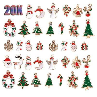 Lots 20x Mixed Enamel Christmas Charms Pendant DIY Necklace Jewelry Making Craft