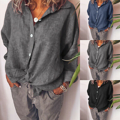 Women Long Sleeve Collared Button Down Blouse Casual Loose Shirts Tops Oversized