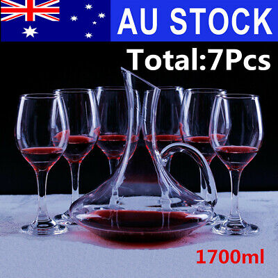 1700ml Luxurious Crystal Glass Wine Decanter Wine Pourer Red Carafe + 6 Cups