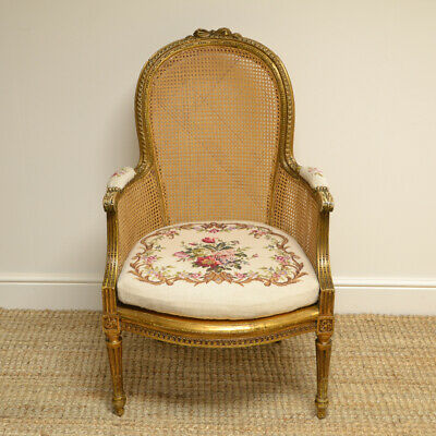 Victorian Country House Gilt Caned Antique Bergere Arm Chair