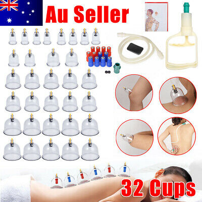 32 Cups Vacuum Cupping Set Massage Kit Suction Massager Pain Relief Kit