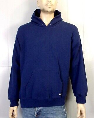 vtg 80s 90s Lee Heavy Weight USA made Blank Navy Blue Hoodie Sweatshirt sz XL