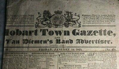 1825 Hobart Town Gazette - 4 pages - extremely rare! ORIGINAL free shipping