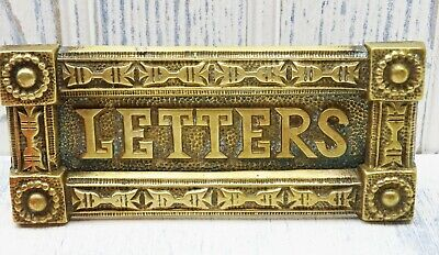 Victorian brass letter flap, ornate brass letter box for door, antique mail slot