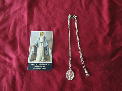 Miraculous Medal with 24 Inch Silver tone Necklace and Prayer card