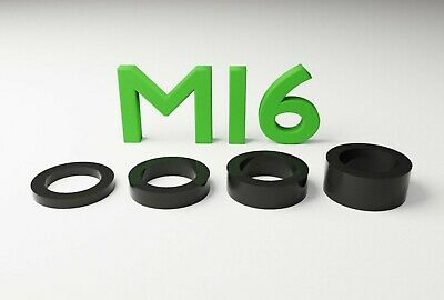 M16 Black Plastic Spacers Standoff Washer Nylon 3mm to 10mm Choice of Quantity.
