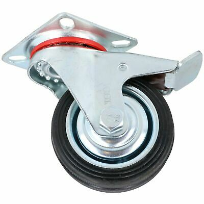 "3"" / 75mm Rubber Swivel Trolley Castor Wheel With Brake For Furniture 1 Pack"
