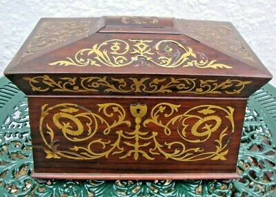 Antique George IV rosewood and brass inlaid sarcophagus tea caddy