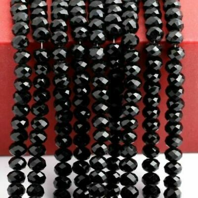 140PC black 3*4MM Wholesale Faceted Crystal Gemstone Loose Beads