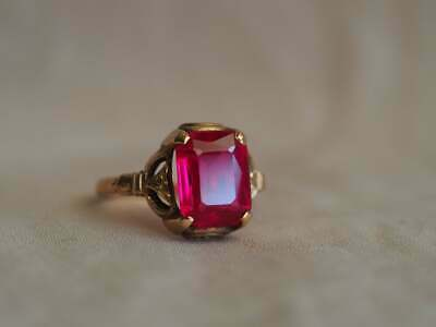 11.25Ct Emerald Cut Red Ruby Vintage Wedding Women/'s Ring 14k Yellow Gold Over