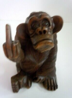 Wooden Carved Monkey Flipping the Bird Rude Statue, 6 1/2 Inch