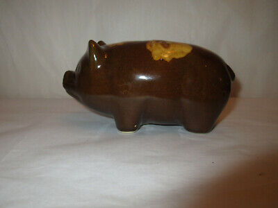 Vintage Yellow Ware Pottery Pig Still Bank