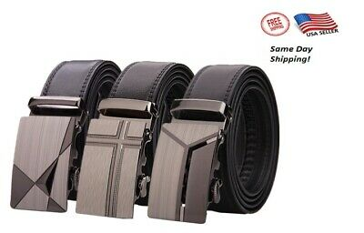 Genuine Leather Belt Mens Ratchet Dress Belts With Automatic Buckle LY25-0370