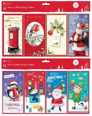 8 Assorted Christmas Money Voucher Wallets Gift Cards & Envelopes Xmas GC202/203